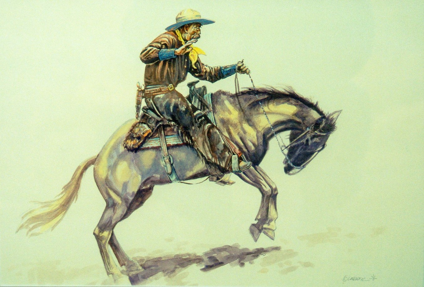 Watercolour16x20RidethatBronc
